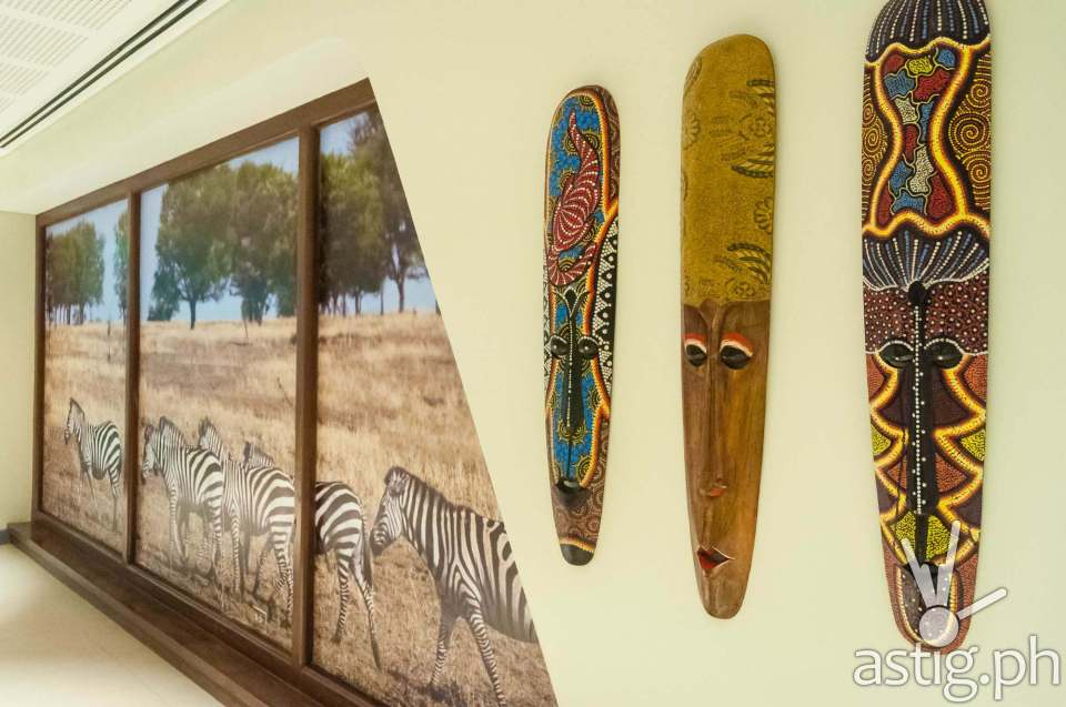 A refreshing view: The walls of this office floor are lined with tribal masks and art