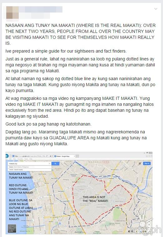 Nasaan ang tunay na Makati post Facebook snapshot