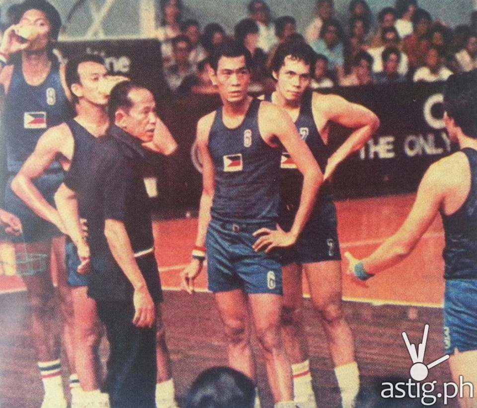 Coach Tito Eduque instructing his players Abet Guidaben (#9), Yoyong Martirez, Tembong Melencio (#6), and Robert Jaworski (#7) Philippine Basketball Team 1974 FIBA World Championship