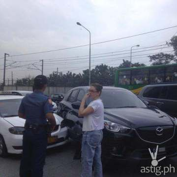 Angelica Panganiban EDSA accident black Mazda taxi (Jerico Javier TV5)