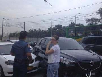 Angelica Panganiban EDSA accident black Mazda taxi (Jerico Javier TV5)