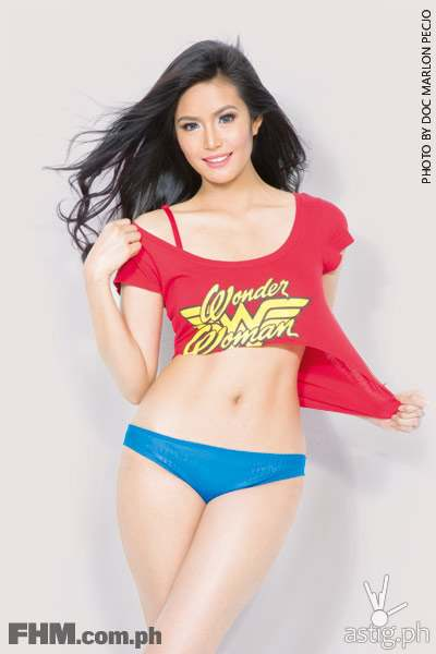 Myrtle Sarrosa wearing a Wonder Woman top and blue panties FHM November 2014