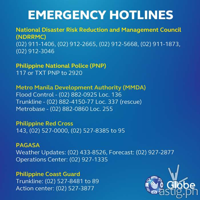 Typhoon Ruby (Hagupit) emergency hotlines Philippines