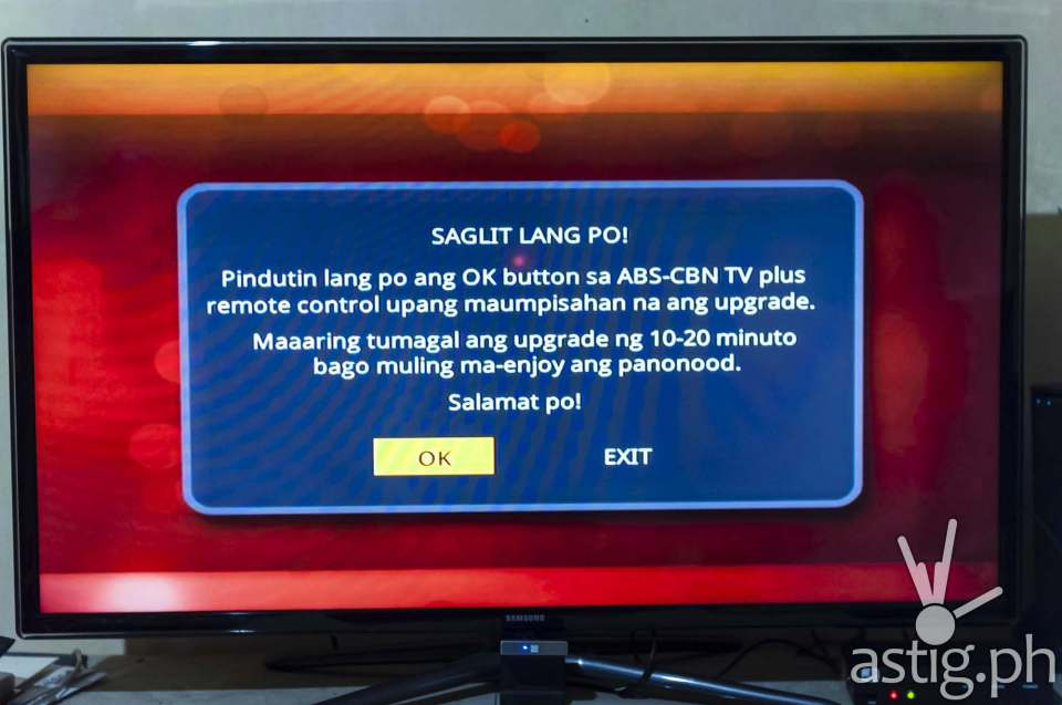 When first plugging in the ABS-CBN TVplus digibox you might be prompted to download some over-the-air (OTA) updates