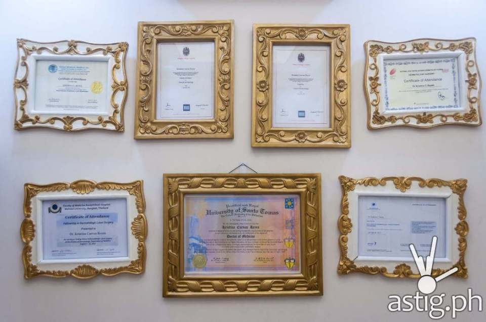 Diplomas and certificates adorn the walls of Dr. Kaycee Reyes' office in Luminisce