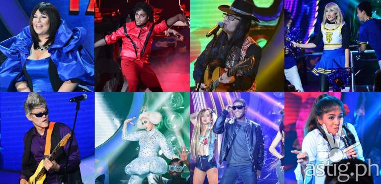 Karla as Sharon Cuneta, Nyoy as Michael Jackson, Tutti as Freddie Aguilar, Maxene as Taylor Swift, Jay-R as Pepe Smith in Your Face Sounds Familiar