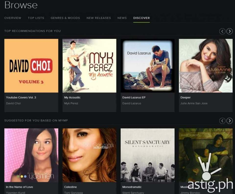 Spotify discovers new music based on your listening history