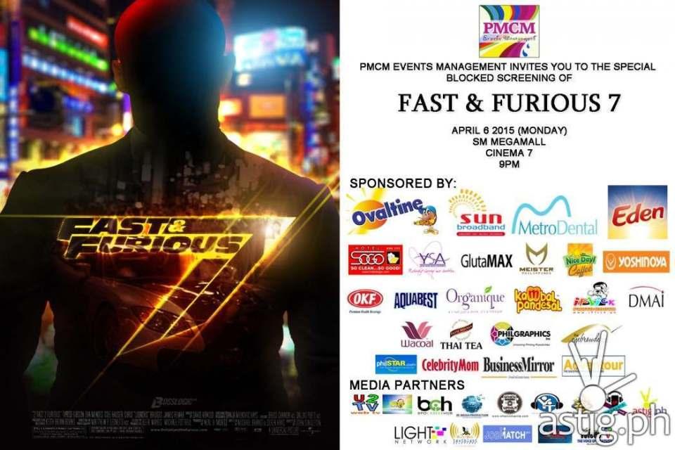 Fast & Furoius 7 block screening poster
