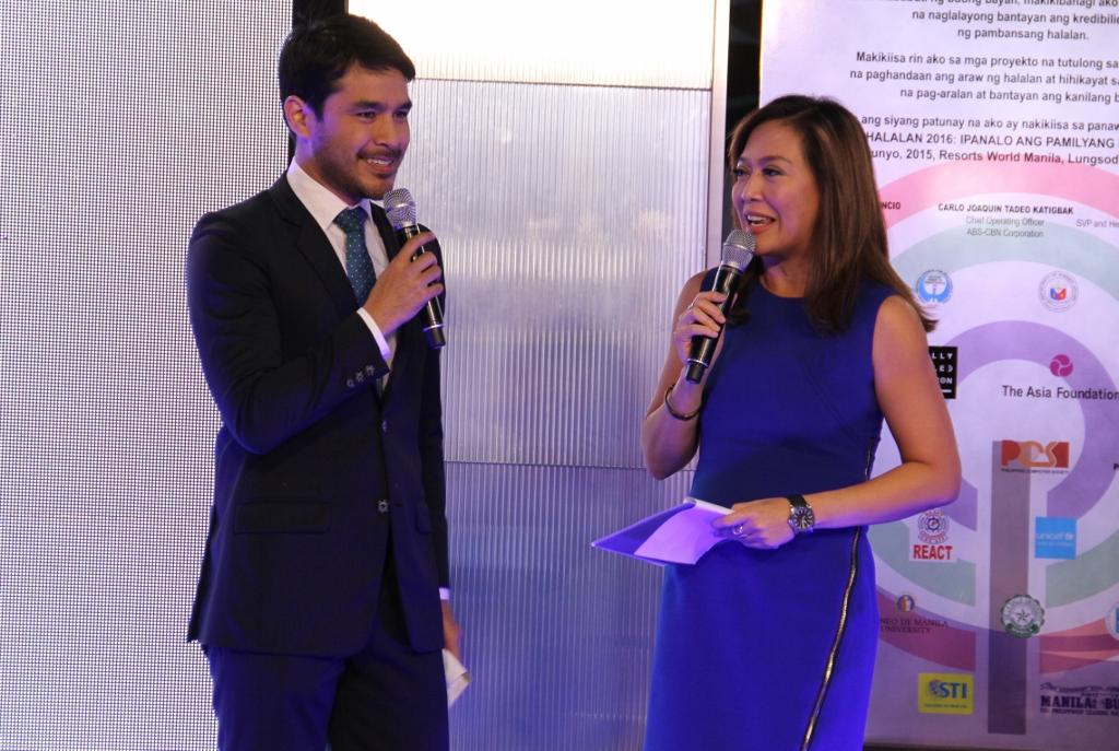 ABS-CBN Halalan 2016 covenant signing hosts Atom Araullo and Karen Davila
