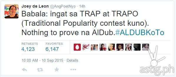 Joey De Leon tweets against supporting TRAPO or Traditional Popularity Contests