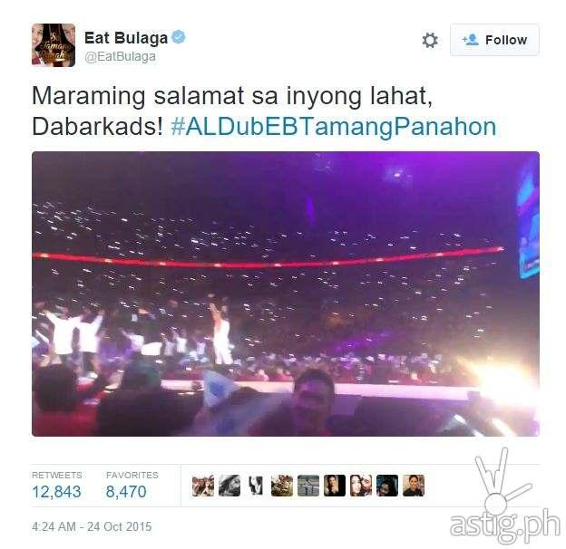 #ALDubEBTamangPanahon  top tweet Eat Bulaga