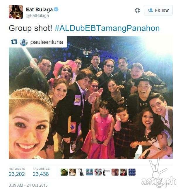 #ALDubEBTamangPanahon top tweet by Eat Bulaga