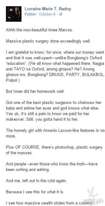 Facebook Post by Lorraine Badoy