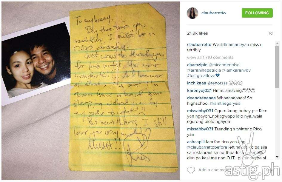 Rico Yan's love letter to claudine Claudine Barretto was posted her Instagram account on Sunday, December 27