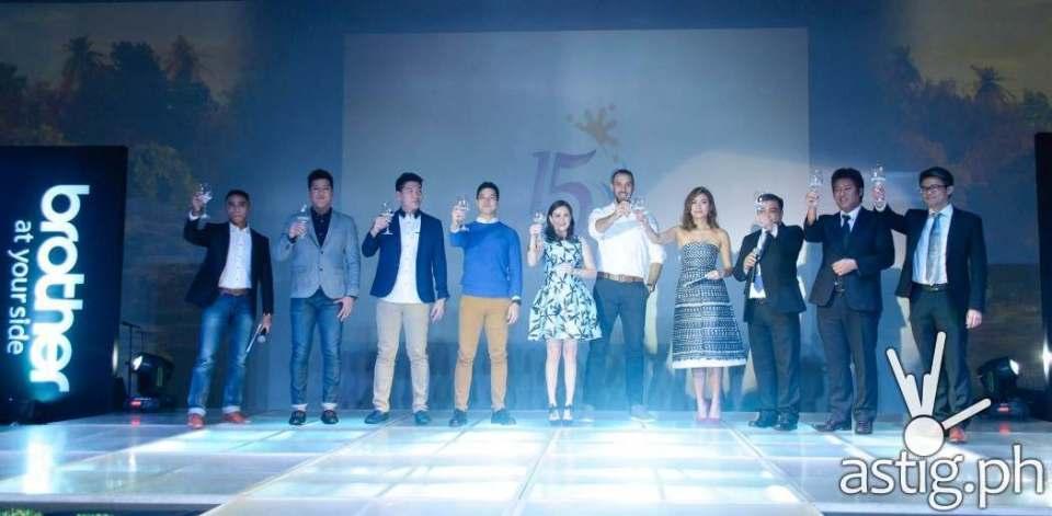 Brother Philippines 15th anniversary celebration (left to right: Boom Gonzales, Jeric Teng, Jeron Teng, Elmo Magalona, Cheska Kramer, Doug Kramer, Phoemela Barranda, Glenn Hocson, Masao Kasagi, Lim Heng Boon)