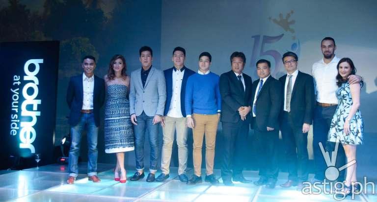 Brother Philippines 15th anniversary celebration (left to right: Boom Gonzales, Phoemela Barranda, Jeric and Jeron Teng, Elmo Magalona, Masao Kasagi, Glenn Hocson, Lim Heng Boon, Doug and Cheska Kramer)