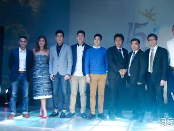 Brother Philippines 15th anniversary celebration (left to right: Boom Gonzales, Phoemela Barranda, Jeric and Jeron Teng, Elmo Magalona, Masao Kasagi, Glenn Hocson, Lim Heng Boon, Doug and Cheska Kramer)