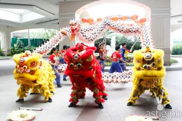 Lion and Dragon Dance at Marriott Hotel Manila