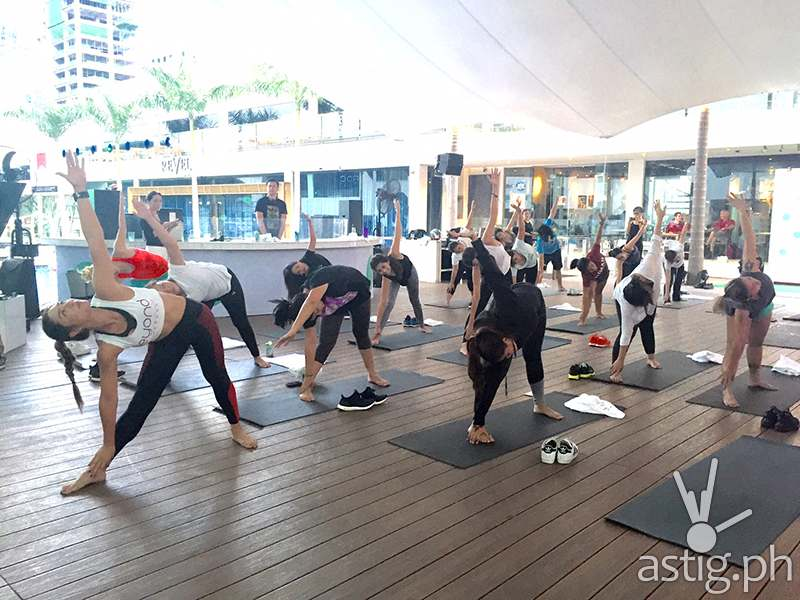 Yoga class for the media attendees by Bubbles Paraiso (representing Beyond Yoga) was held earlier in the afternoon before the launch party. Photo by Star Sabroso