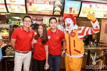 (From L-R) McDonald's President and Chief Executive Officer Kenneth S. Yang, McDonald's endorsers Maine Mendoza and Alden Richards, and McDonald's Chief Happiness Officer, Ronald McDonald