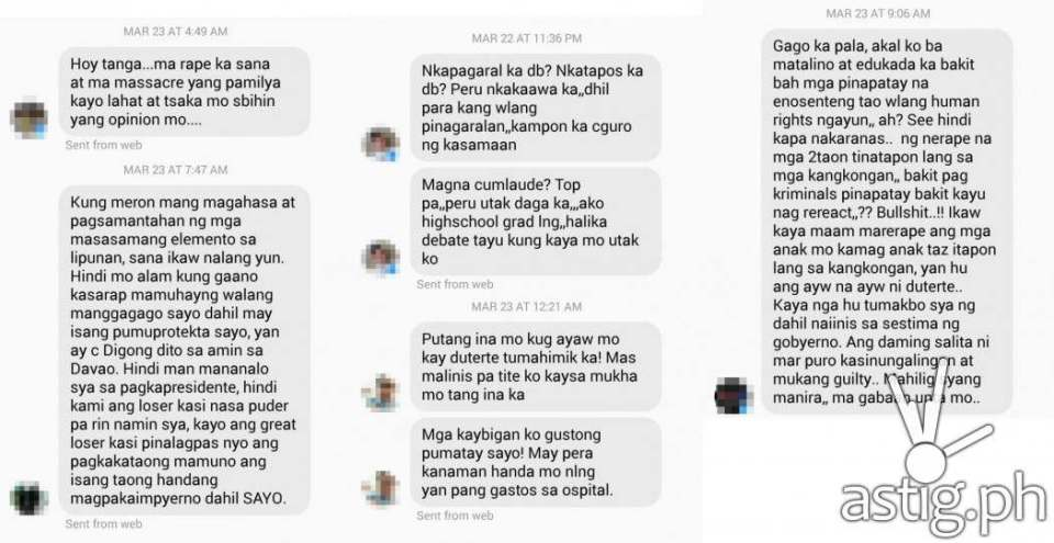 """Messages from Duterte fans"" screenshot from Facebook"