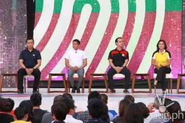 Vice presidential candidates Sen. Antonio Trillanes IV, Sen. Chiz Escudero, Sen. Alan Peter Cayetano, and Rep. Leni Robredo at ABS-CBN's 'Harapan ng Bise' debate