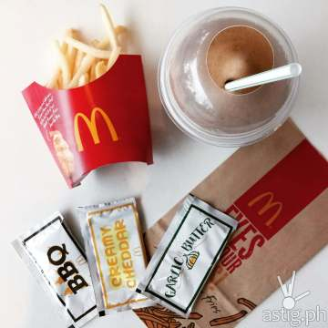 McDonald's Shake Shake fries comes in 3 flavors: BBQ, Cheese, and Garlic Butter
