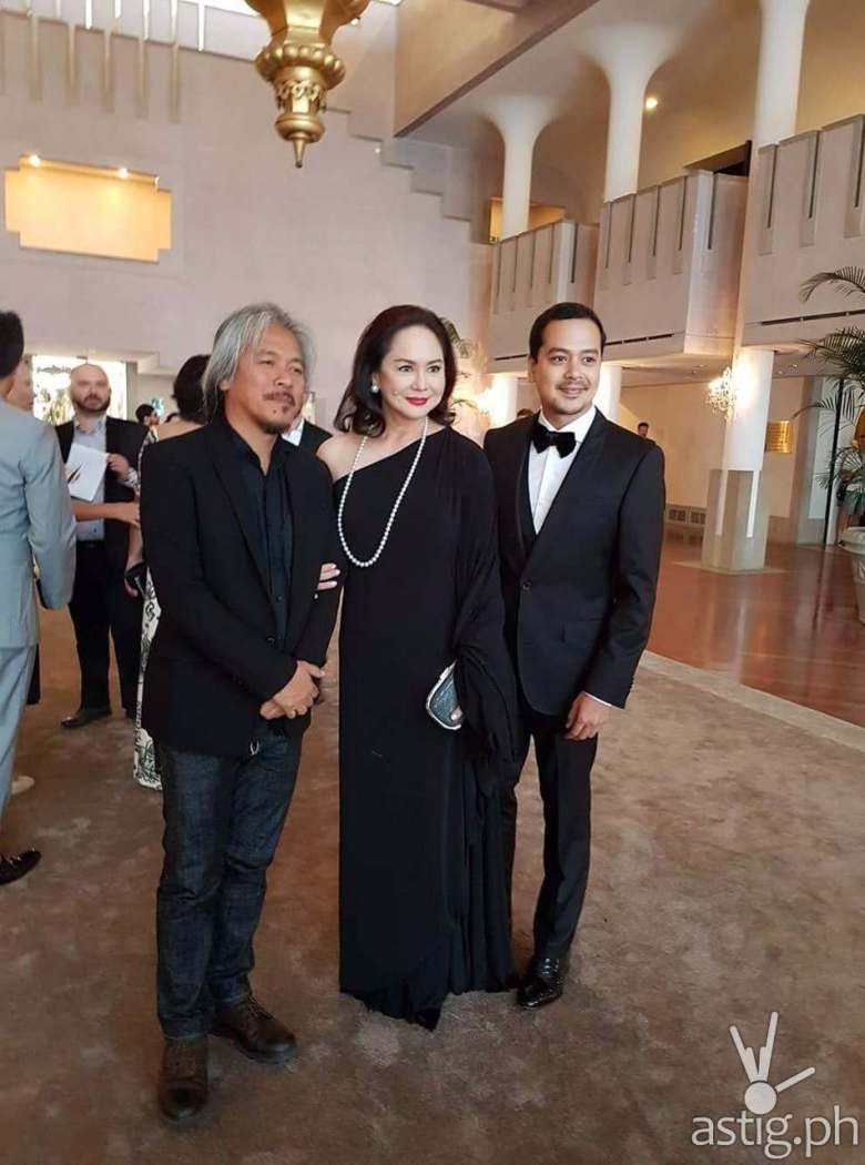 Lav Diaz, Charo Satnos, and John Lloyd Cruz at the Venice Film Fest red carpet