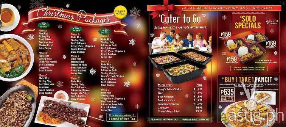 Gerry's Restaurant menu Christmas 2016