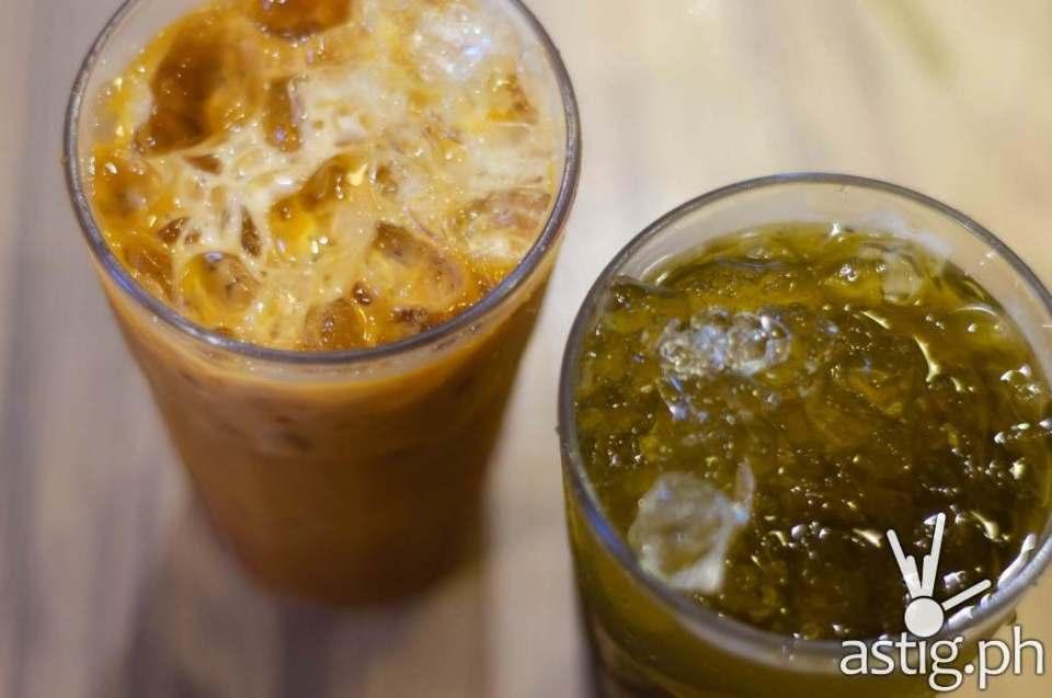 BKK Express - Thai milk tea (P55) and pandan iced tea (P45)