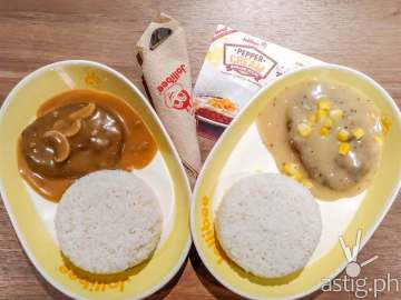 Jollibee burger steak classic vs Jollibee pepper cream burger steak