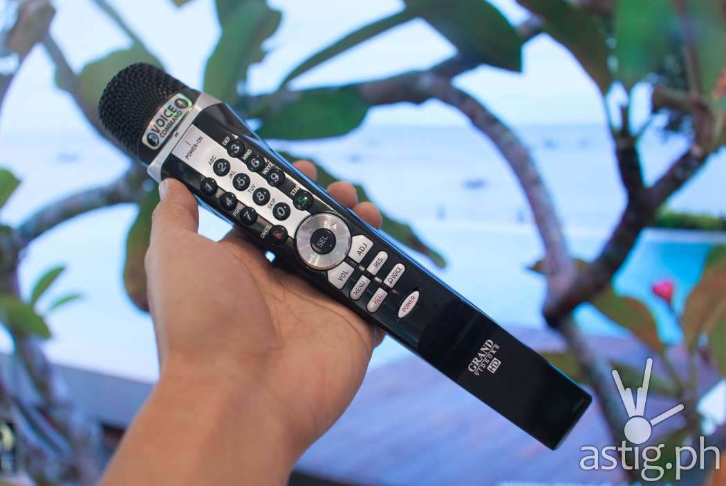 Grand Videoke microphone is shaped like a clarinet