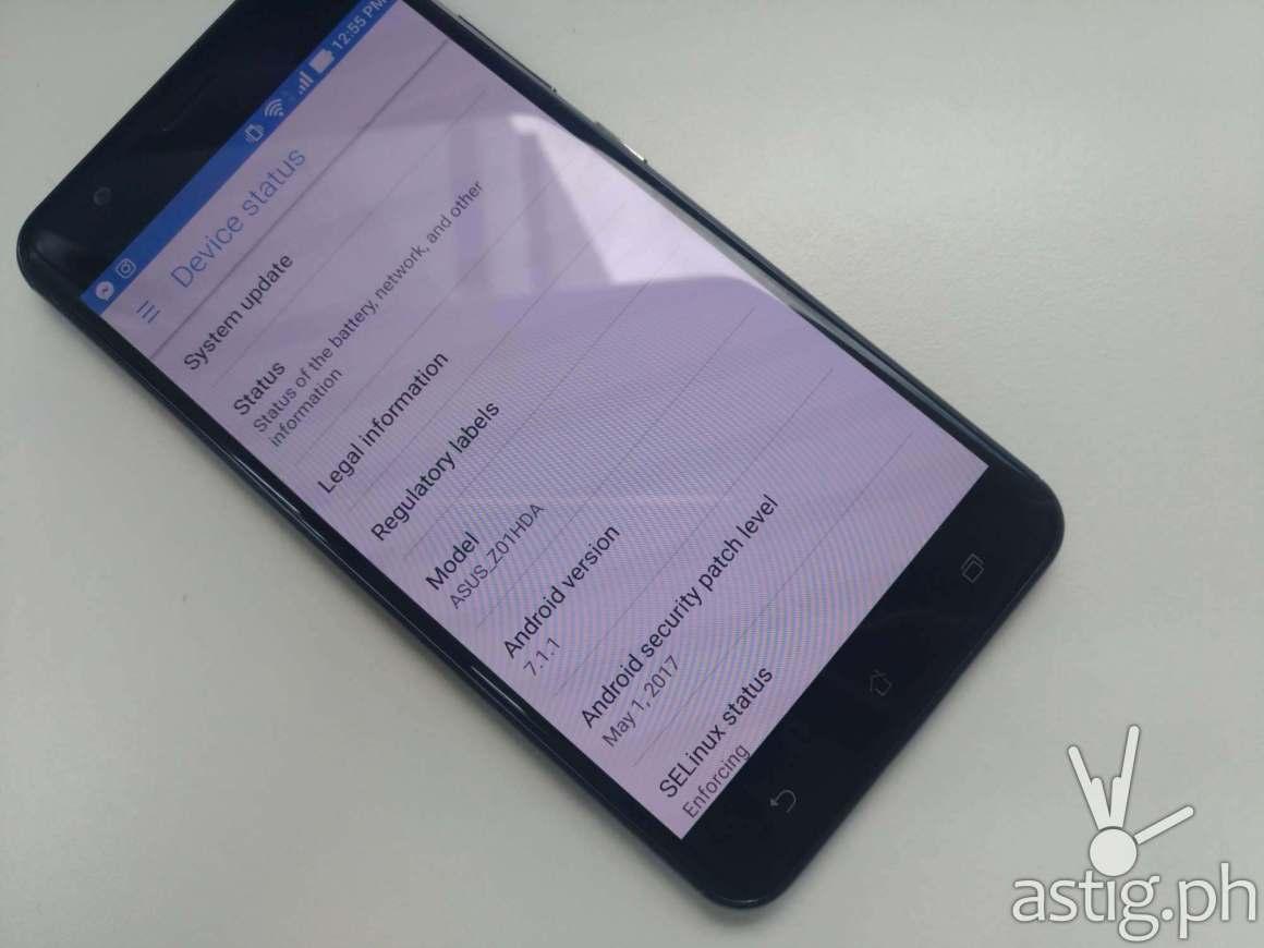 Zenfone 3 Zoom running Android 7.1.1 (Nougat)
