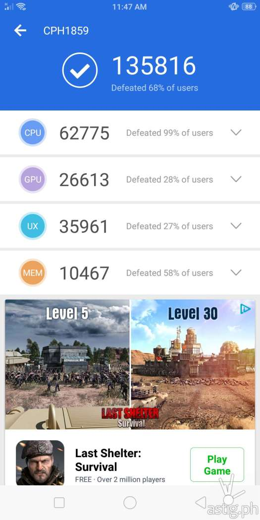 OPPO F7 performance benchmark - Antutu