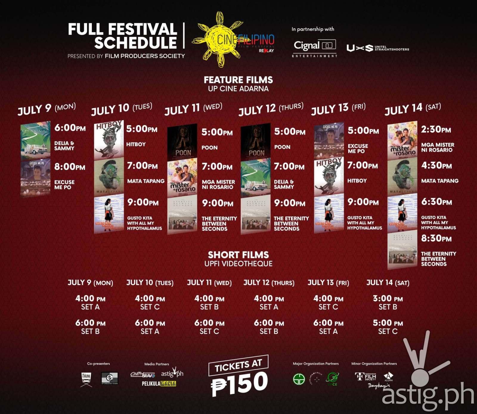 CineFilipino Replay Full Festival Schedule