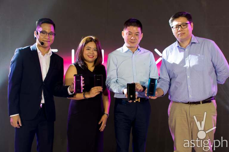 OPPO Philippines executives: PR Manager Eason de Guzman, VP for Marketing Jane Wan, CEO James Ma, and VP for Operations Garrick Hung at the launch of the OPPO Find X