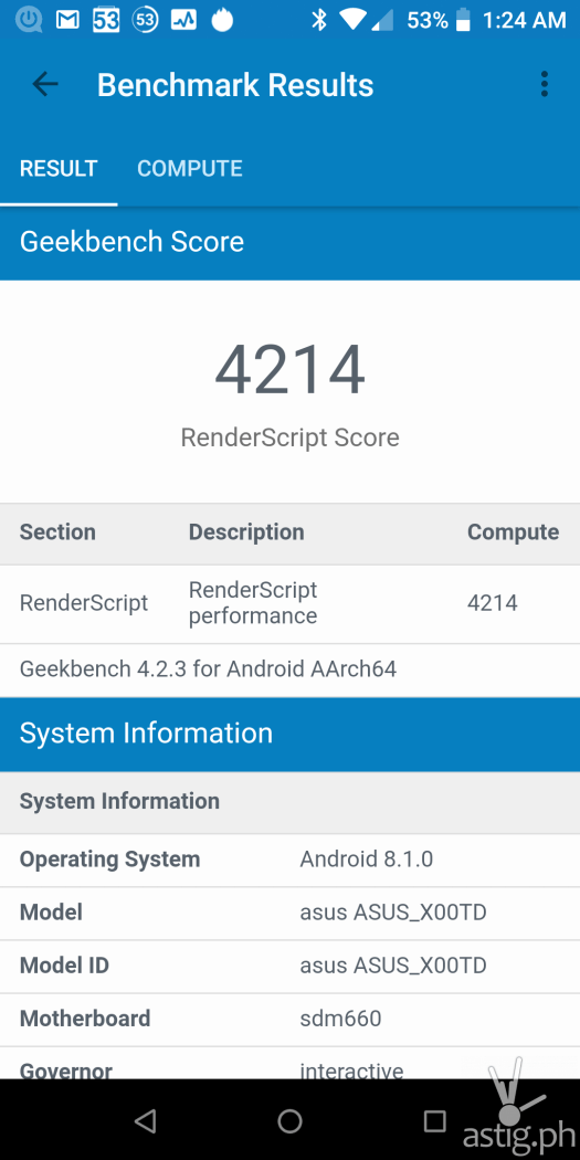 Performance benchmark score Geekbench - ASUS Zenfone Max Pro M1
