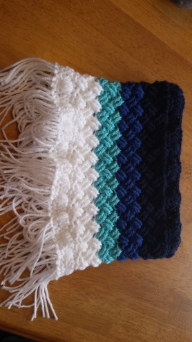 A gorgeous ombre cowl...I love blue!