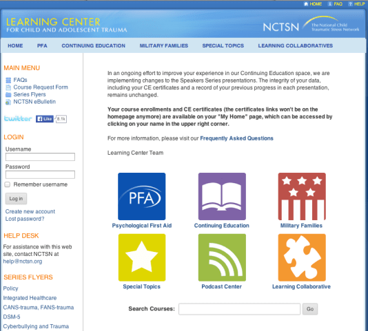 NCTSN Learning Center homepage