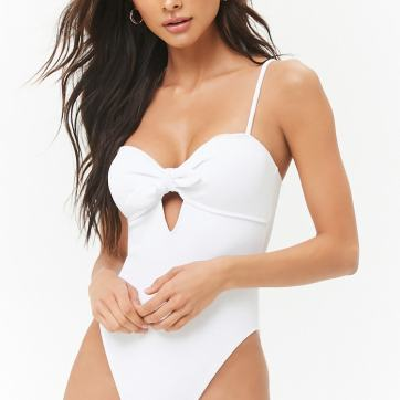 Ribbed Tie-Front One-Piece Swimsuit