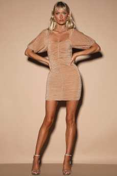 Ruche Hour Blush Pink and Silver Ruched Bodycon Dress
