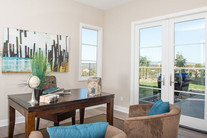 Office staging with brown and blue accents