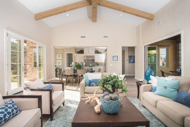 Kitchen, dining room and living room staging with beige, blue and teal accents