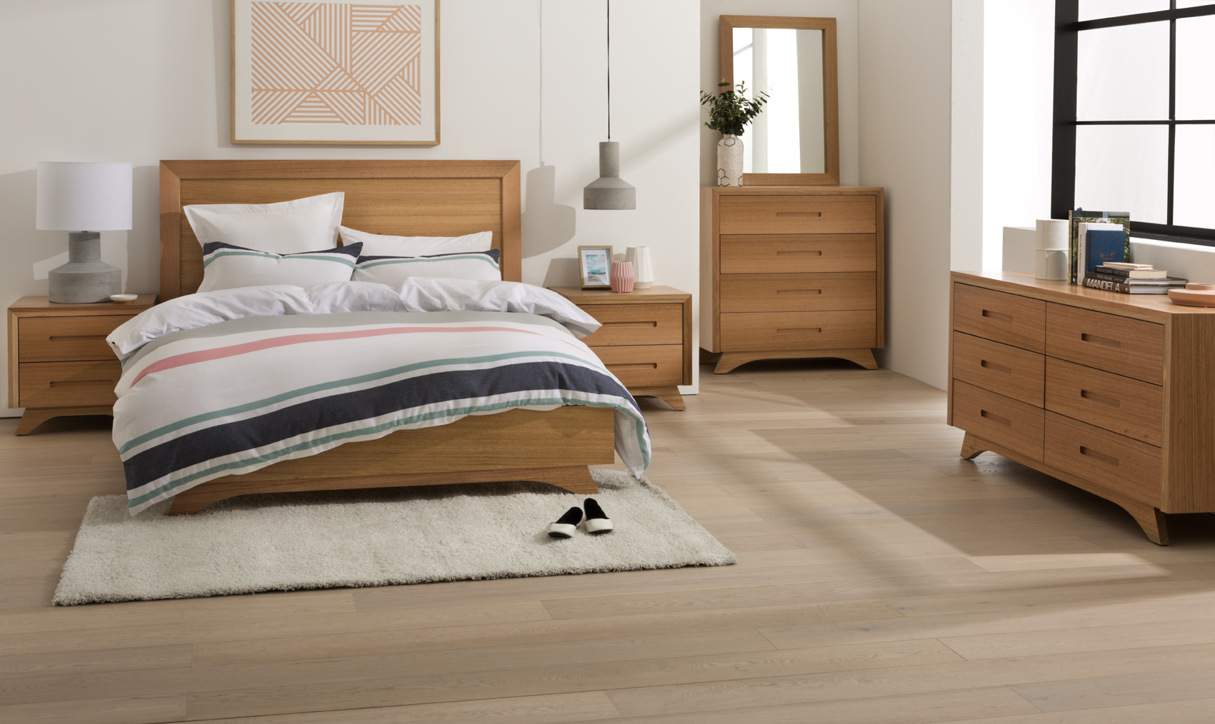 Photograph of Astra Furniture Avanti bedroom range crafted from solid Tasmanian Oak