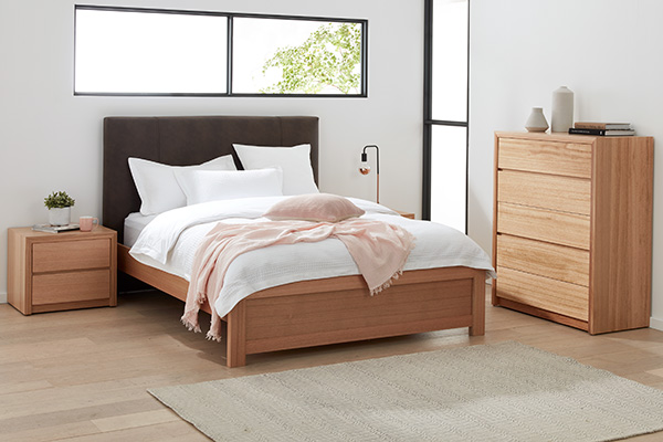Sorrento Tasmanian Oak Upholstered Bedroom Suite by Astra Furniture