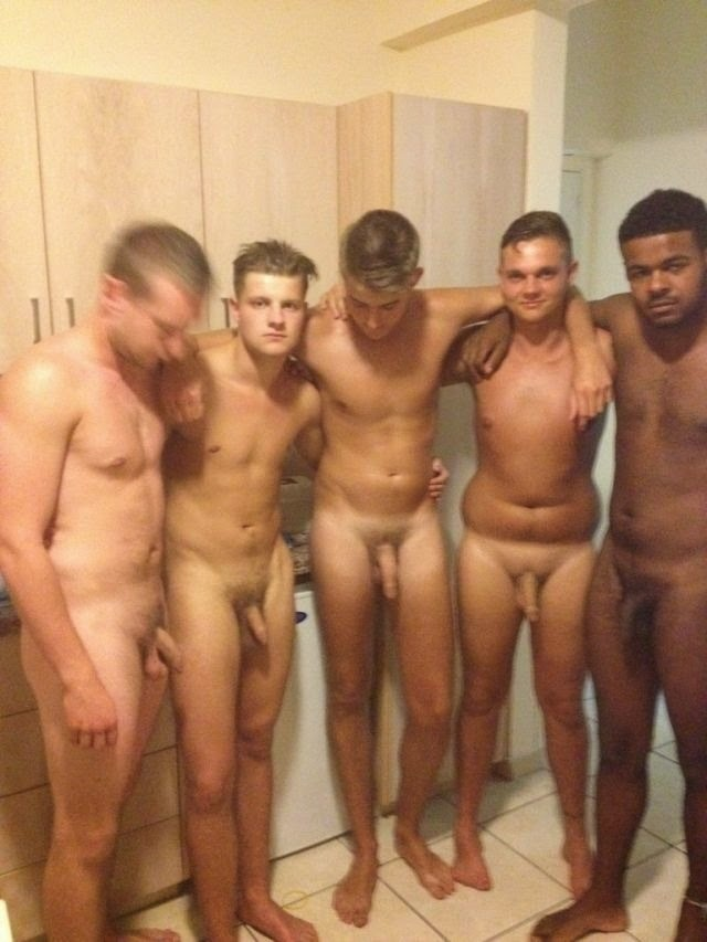 Men nude in locker room