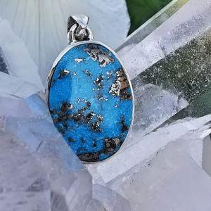 Turquoise d Iran pyrisée pierre naturelle pendentif