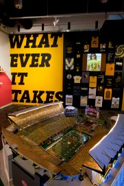 Whatever It Takes, installation photo of 9-foot Heinz replica and Unofficial Steelers T-shirts
