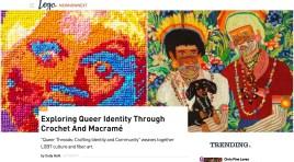 "Logo: NewNowNext: ""Exploring Queer Identity Through Crochet And Macramé,"" Cody Gohl, 2017. (screenshot)"