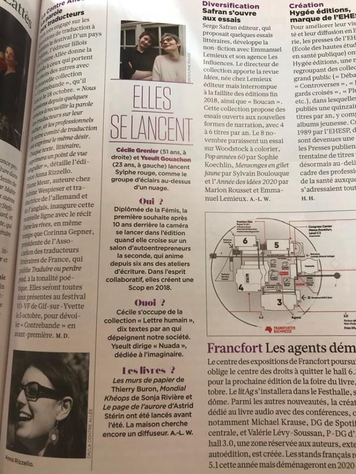 Sylphe Rouge cité dans le magazine Livres Hebdo